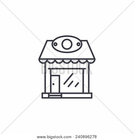 Retail Store Line Icon, Vector Illustration. Retail Store Linear Concept Sign.