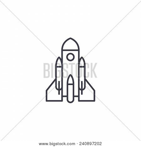 Rocket Launch Line Icon, Vector Illustration. Rocket Launch Linear Concept Sign.