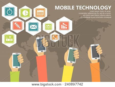 Mobile Technology And Applications Concept. Hands With Phones And Application Icons. Flat Vector Ill