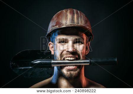 Construction Worker Concept - Professional Builder, Repairman, Engineer, Miner In Protective Helmet