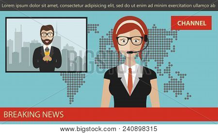Breaking News Concept. News Anchor Broadcasting The News With A Reporter Live On Screen. Flat Vector