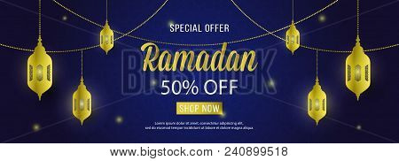 Ramadan Sale Special Offer Web Banner Design With Beautiful Crescent Lantern  Gold Color And Night B