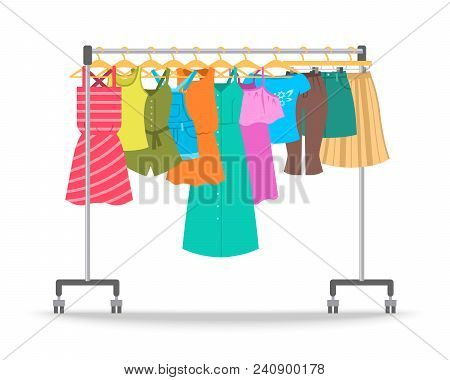 Women Summer Casual Clothes On Hanger Rack. Flat Style Vector Illustration. Female Apparel Hanging O