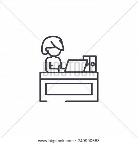 Secretary At Office Line Icon, Vector Illustration. Secretary At Office Linear Concept Sign.