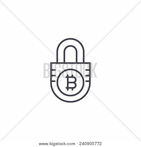 Security Of Bitcoin Funds Line Icon, Vector Illustration. Security Of Bitcoin Funds Linear Concept S