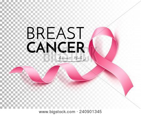 Breast Cancer Awareness Poster Template With Realistic Pink Ribbon In White Frame With Inscription.