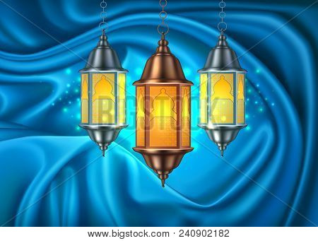 Vector Ramadan Kareem Celebration Lamp Lantern On Blue Silk Drape Curtain, Realistic 3d Illustration