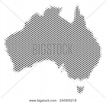 Schematic Australia Map. Vector Halftone Geographical Scheme. Silver Pixel Cartographic Composition.