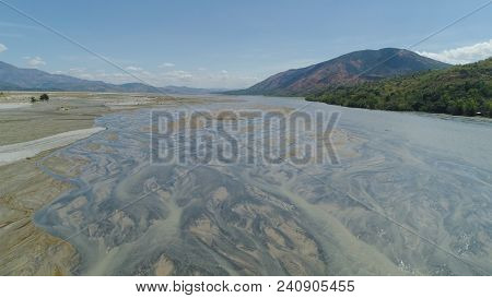 Parched River In Mountain Province Luzon, Philippines. Aerial View Drought In Mountain Valley, Dry A