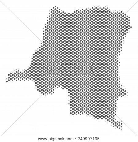 Schematic Democratic Republic Of The Congo Map. Vector Halftone Territory Plan. Gray Dot Cartographi