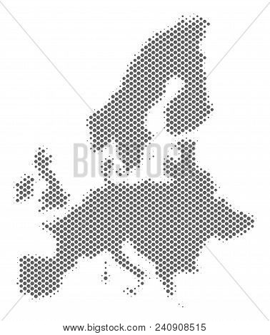 Schematic European Union Map. Vector Halftone Geographical Abstraction. Silver Pixelated Cartographi