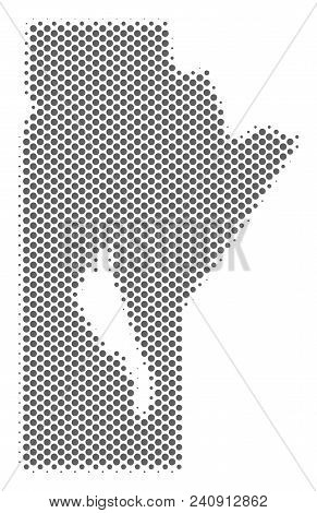 Schematic Manitoba Province Map. Vector Halftone Territorial Scheme. Gray Pixelated Cartographic Con