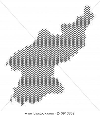Schematic North Korea Map. Vector Halftone Territory Abstraction. Silver Dotted Cartographic Concept
