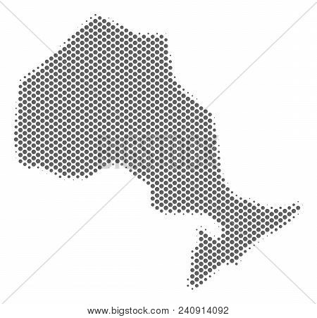 Schematic Ontario Province Map. Vector Halftone Geographical Plan. Gray Pixel Cartographic Compositi