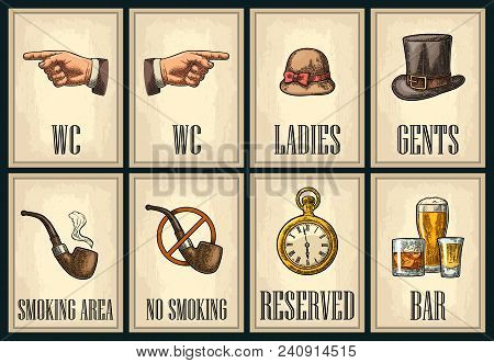 Set Signboard. Pointing Finger. Toilet Retro Vintage Grunge Poster For Ladies, Cents. The Sign No Sm