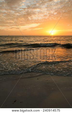 Sunset On A Beach In Florida.  Siesta Key, Fl, Usa.