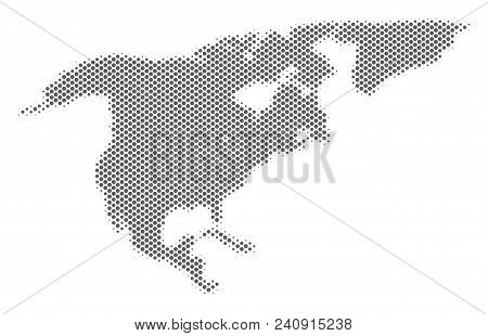 Schematic North America Map. Vector Halftone Geographical Plan. Grey Dotted Cartographic Concept. Ab