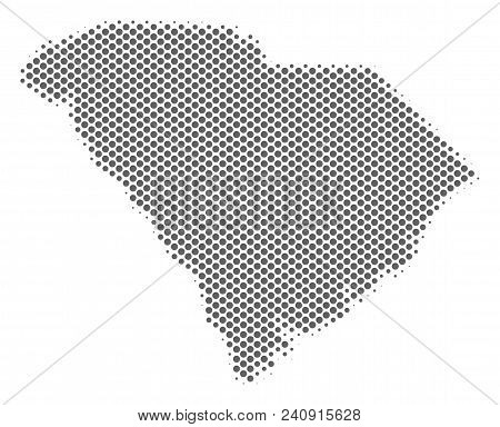 Schematic South Carolina State Map. Vector Halftone Territory Abstraction. Grey Pixelated Cartograph