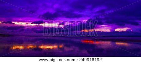 Twilight: Storm Blowing In Over Atlantic Ocean At Sunrise, Amelia Island, Florida