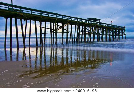 A Case Of The Blues; Sunrise Fishing Pier In Florida