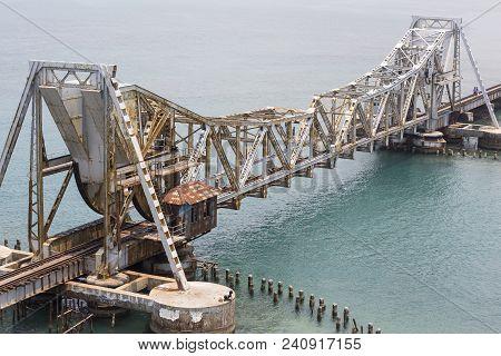 Close Up Of Pamban Bridge Is A Railway Bridge Which Connects The Town Of Rameswaram On Pamban Island