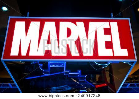 Moscow, Russia - March, 2018: Marvel Logo In Hamleys Store. Marvel Comics Group Is A Publisher Of Am