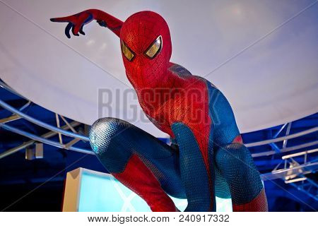 Moscow, Russia - March, 2018: Figure Of Famous Super Hero Spiderman In The Shop. Spider-man Is A Fic