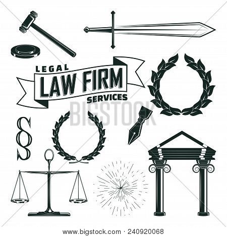 Set Of Monochrome Elements For Law Firm Vintage Logo Design, Sword And Pen, Leyer Scales And Judicia