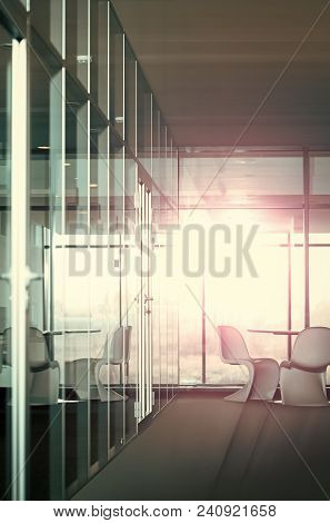 Business Office With No People At End Of Working Day With Glass And Boss Chair