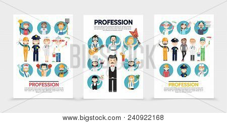 Flat professions brochures with stylist farmer builder doctors police officers painters postman sportsman musicians chef waiter accountant teacher stewardess engineer vector illustration poster