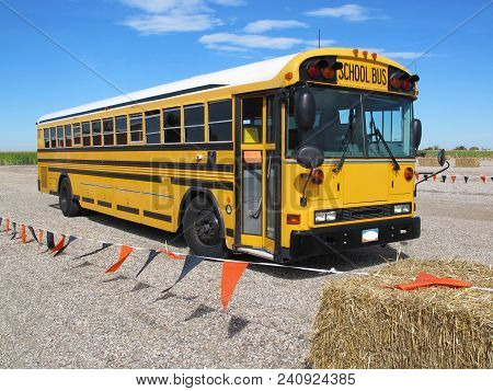 Parked School Bus Transported Students Safely On A Field Trip