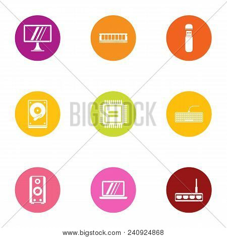 Technical Monitor Icons Set. Flat Set Of 9 Technical Monitor Vector Icons For Web Isolated On White