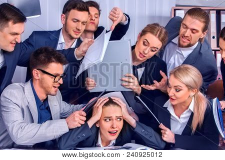 Business people office. Team people are unhappy with their leader. Intern manager does not cope with his duties. Crowd in stress. New employee in team. How to satisfy all needs of customers.