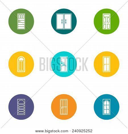 Doorway Icons Set. Flat Set Of 9 Doorway Vector Icons For Web Isolated On White Background