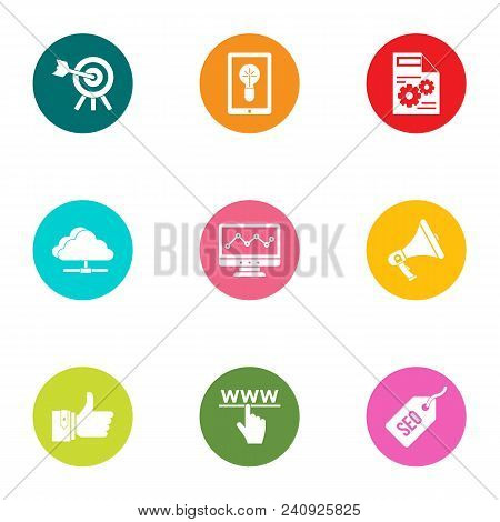 Technical Business Icons Set. Flat Set Of 9 Technical Business Vector Icons For Web Isolated On Whit