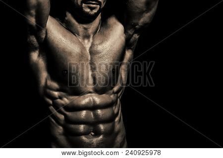 Coach Sportsman With Bare Chest, Shower. Sport And Workout. Athletic Bodybuilder Man. Dieting And Fi