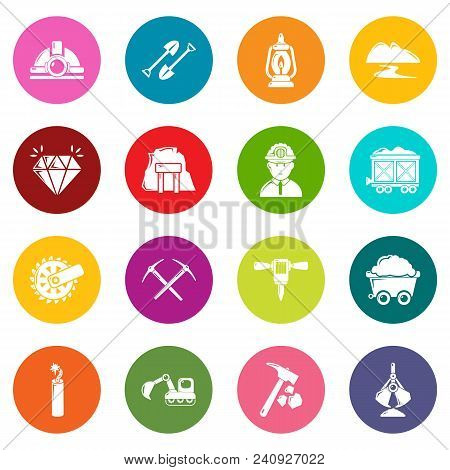 Mining Minerals Business Icons Set Vector Colorful Circles Isolated On White Background