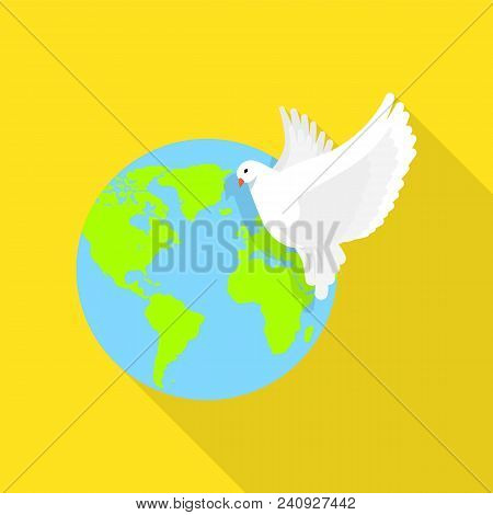 Global Peace Pigeon Icon. Flat Illustration Of Global Peace Pigeon Vector Icon For Web Design