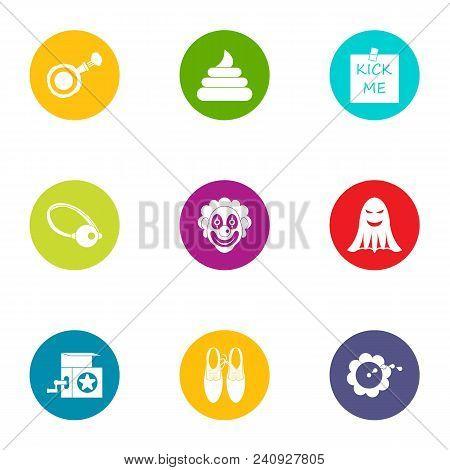 Joke icons set. Flat set of 9 joke vector icons for web isolated on white background poster