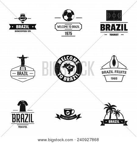 Brazilian Land Logo Set. Simple Set Of 9 Brazilian Land Vector Logo For Web Isolated On White Backgr