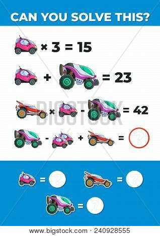 System Of Equations With Cars. Math Task For Kids. Vector Eps10