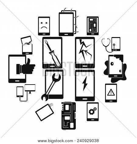 Device Repair Symbols Icons Set. Simple Illustration Of 16 Device Repair Symbols Vector Icons For We