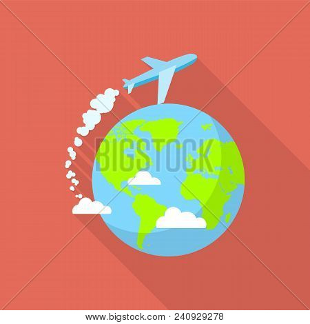 International Air Tour Icon. Flat Illustration Of International Air Tour Vector Icon For Web Design