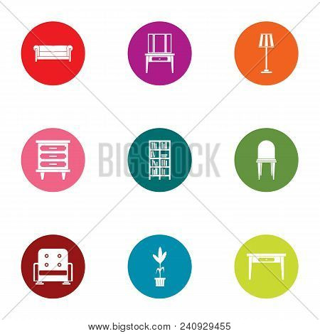 Soft Armchair Icons Set. Flat Set Of 9 Soft Armchair Vector Icons For Web Isolated On White Backgrou