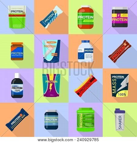 Protein Sport Nutrition Containers Icons Set. Flat Illustration Of 16 Sport Nutrition Containers Vec