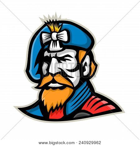 Mascot Icon Illustration Of Head Of A Jacobite Highlander Wearing A Beret  Viewed From   On Isolated