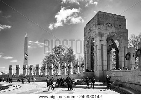Washington Dc, Usa - April 2018: World World Ii Memorial Pacific Section In Black And White. Each Pi