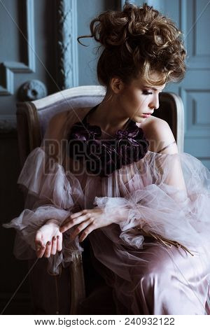 Fashionable Female Portrait Of Cute Lady In Pink Dress Indoors. Close Up Beautiful Sexy Model Girl I