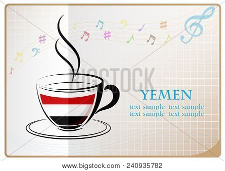 Coffee Logo Made From The Flag Of Yemen