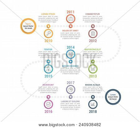 Colorful Timeline Infographics Template With 9 Steps, Workflow, Process, History Diagram, Vector Eps